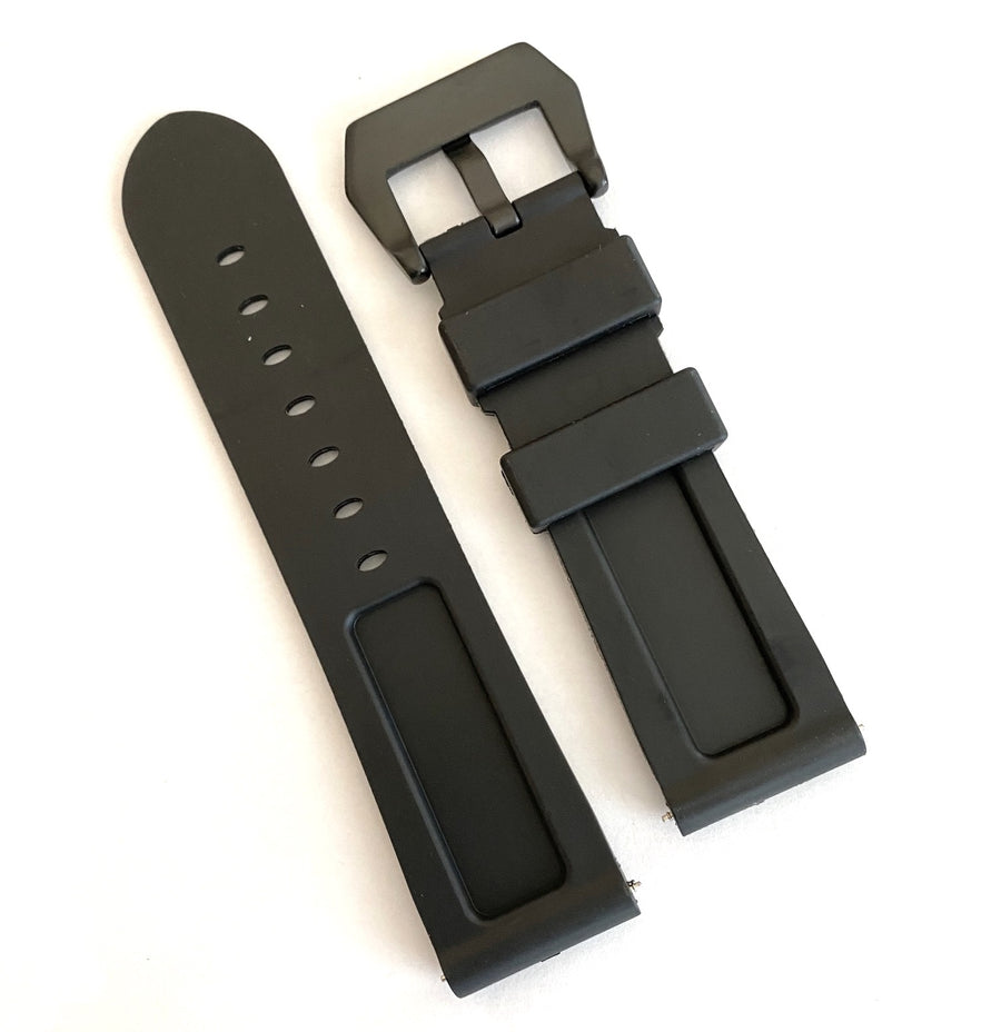 Bulova 24mm Black Rubber Band Strap with Black Buckle