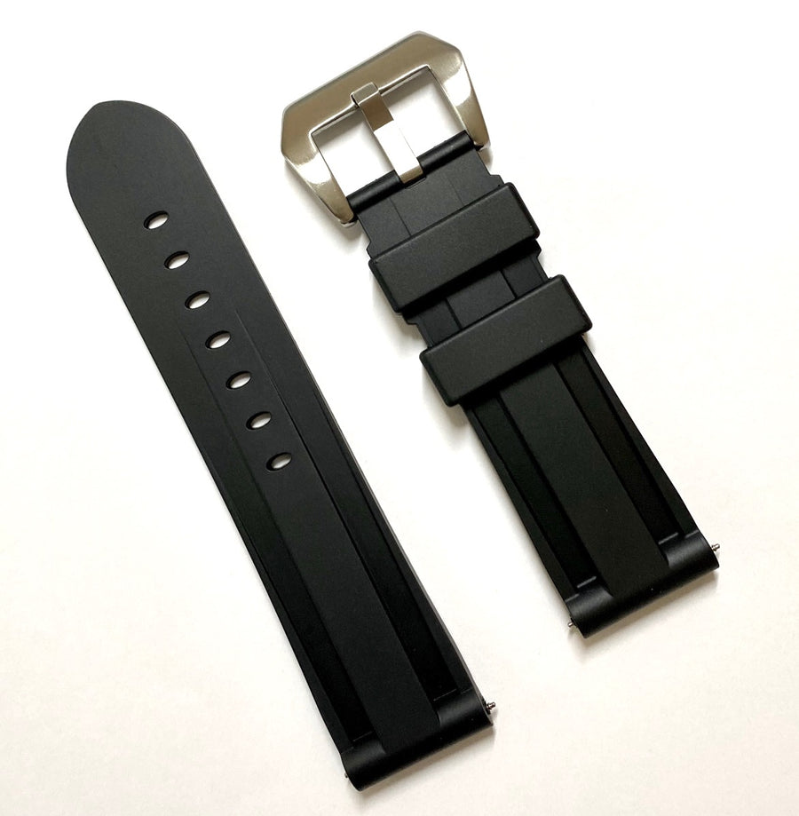Bulova 24mm Black Rubber Band Strap - WATCHBAND EXPERT
