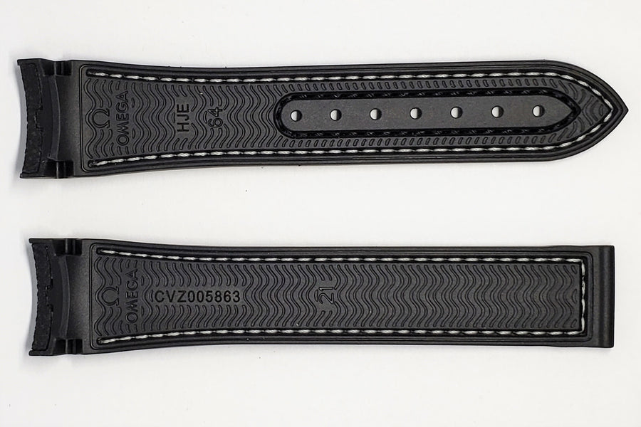 Omega Seamaster 21mm Black Rubber Watch Band