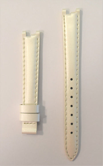 Tissot Women's Flamingo T094210A White Pearl Leather Strap Watch Band - WATCHBAND EXPERT