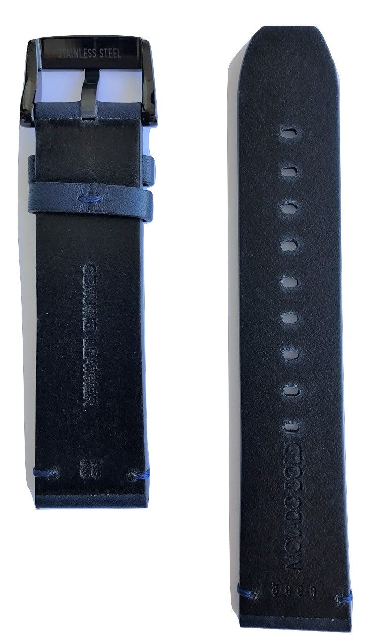 Movado BOLD Dark Blue Leather 22mm Watch Band Strap with Buckle - WATCHBAND EXPERT