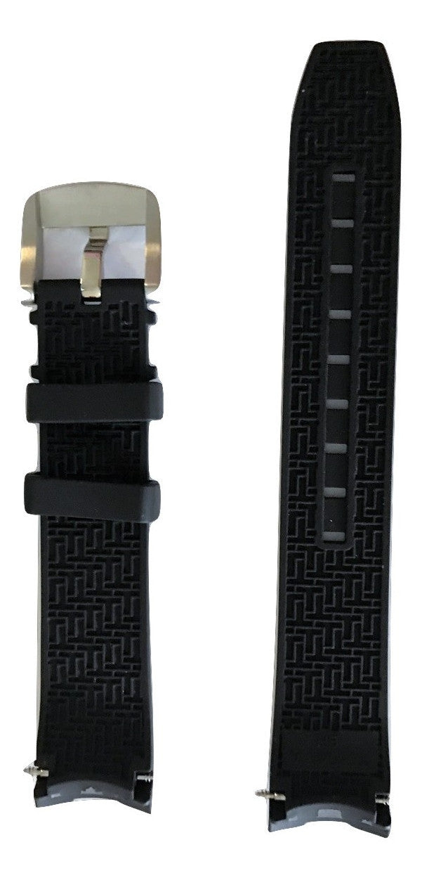 Tissot PRC 200 Black Rubber 19mm Strap Band with Buckle for T055417A - WATCHBAND EXPERT