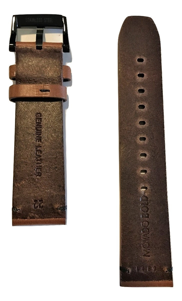 Movado BOLD Brown Leather 22mm Watch Band Strap with Buckle - WATCHBAND EXPERT