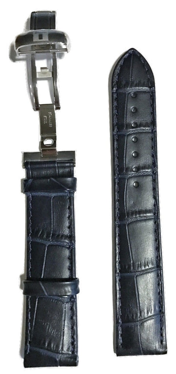 Tissot PRC 200 Blue Leather 19mm Strap Band with Buckle for T055410A, T055417A - WATCHBAND EXPERT