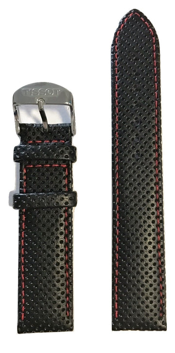 Tissot PR 100 Black Leather w/ Red Stitching Strap Band for T049417 - WATCHBAND EXPERT
