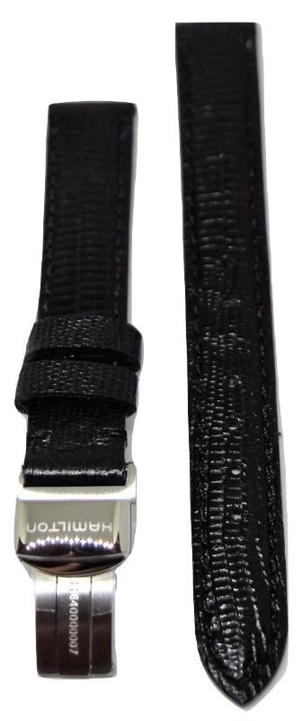 Hamilton Women's Ventura 13mm Black Leather Watch Band - WATCHBAND EXPERT