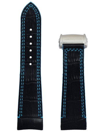 Hamilton Face 2 Face II H32856705 Black Leather Watch Band Strap