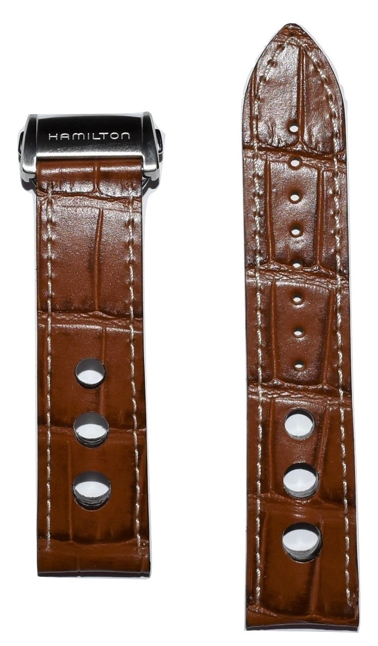 Hamilton Pan Europ 22mm Brown Leather Watch Band