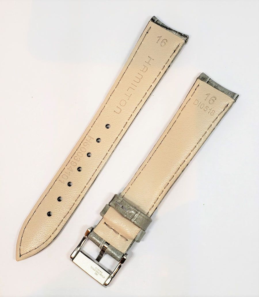 Hamilton Ladies Model H394150 Gray Leather 16mm Watch Band - WATCHBAND EXPERT
