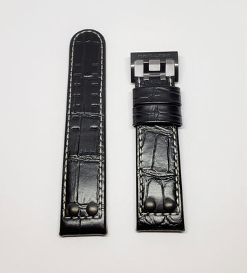 Hamilton 22mm H647850 Black Leather Band Strap