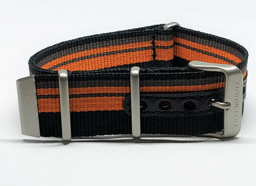 Hamilton 22mm Black / Orange Nylon Watch Band Strap