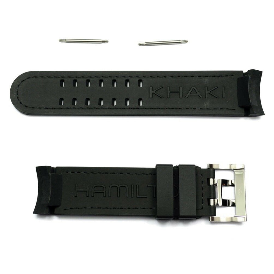 Hamilton 22mm H767160 / H776260 Black Rubber Watch Band Strap - WATCHBAND EXPERT