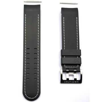 Hamilton 22mm H766160 / H766560 Black Rubber Watch Band Strap