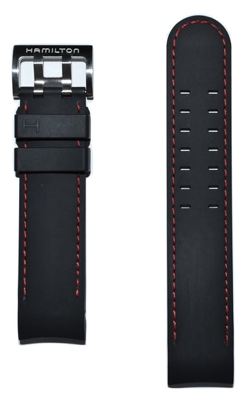 Hamilton Khaki X-Wind 22mm Black Rubber Watch Band