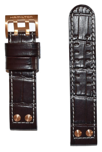 Hamilton Khaki X-Wind 22mm Brown Leather Watch Band