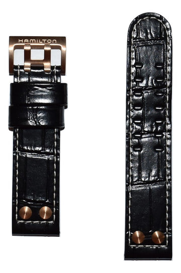 Hamilton Khaki X-Wind 22mm Black Leather Watch Band