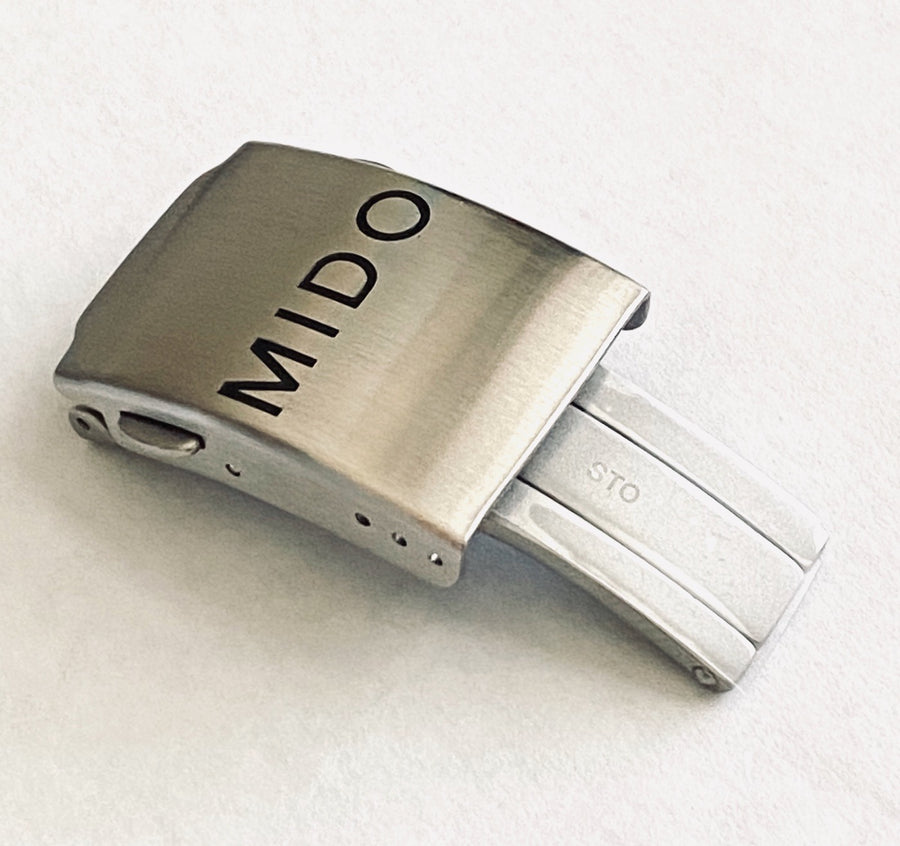 Mido 21mm Silver Steel Clasp Buckle For Rubber Strap - WATCHBAND EXPERT