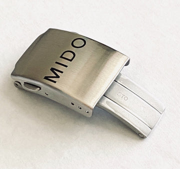 Mido M005614A Silver Steel Clasp Buckle For Rubber Strap - WATCHBAND EXPERT