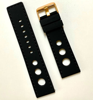 Bulova 24mm Black Rubber Band Strap with Rose-Gold Buckle - WATCHBAND EXPERT