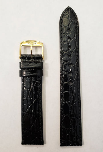 Longines 18mm L682100662 Black Leather Watch Band with Gold Buckle - WATCHBAND EXPERT