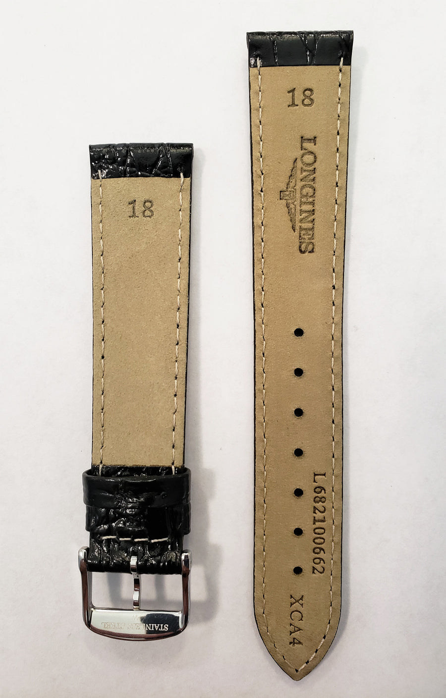 Longines 18mm L682100662 Black Leather Watch Band with Silver Buckle