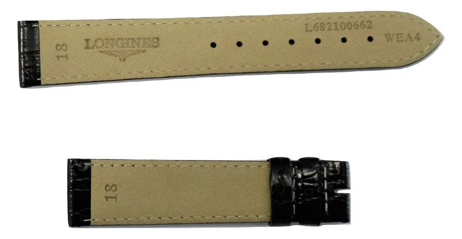 Longines 18mm Black Leather Watch Band L682100662