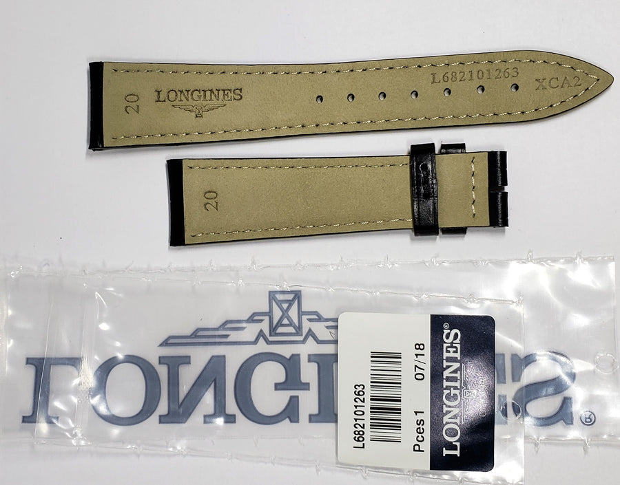 Longines 20mm Black Leather Watch Band # L682101263 - WATCHBAND EXPERT