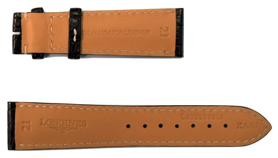 Longines 21mm Brown Alligator Leather Watch Band L682109818