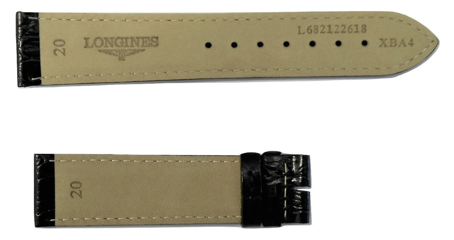 Longines 20mm Black Leather Watch Band L682122618