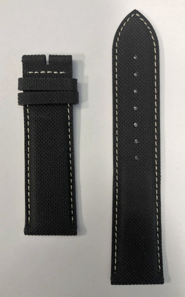 Longines 22mm Black Synthetic Leather Watch Band L682150802 - WATCHBAND EXPERT