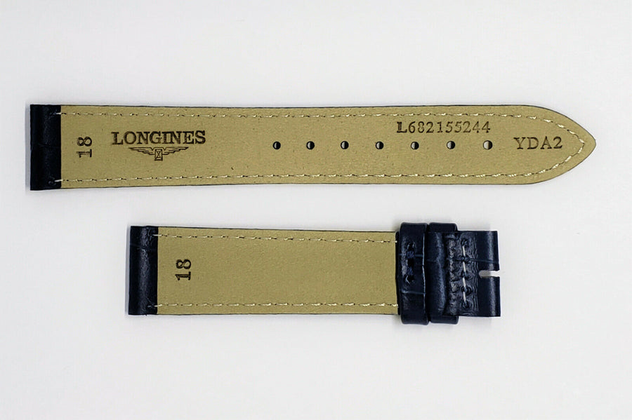 Longines 18mm Blue Leather Watch Band Strap - WATCHBAND EXPERT