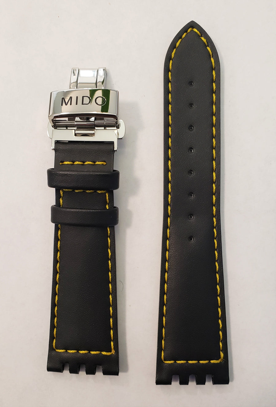 Mido All Dial 8341 Black Leather Watch Band - WATCHBAND EXPERT