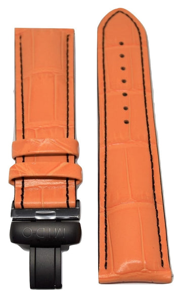 MIDO Multifort 23mm Orange Leather Band Strap For Model: M005614A - WATCHBAND EXPERT