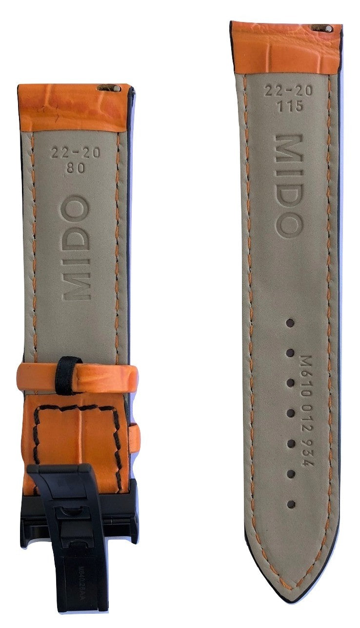 MIDO Multifort 22mm Orange Leather Band Strap For Model: M005430A