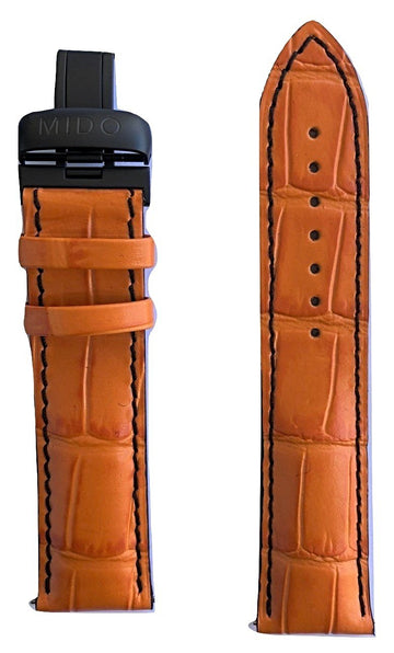 MIDO Multifort 22mm Orange Leather Band Strap For Model: M005430A - WATCHBAND EXPERT