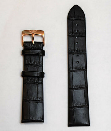 MIDO Baroncelli 20mm M027407A Black Leather Watch Band Strap - WATCHBAND EXPERT