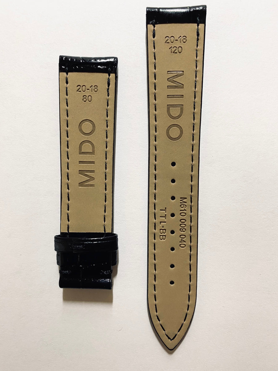 Mido Baroncelli 20mm Black Leather Band Strap M8600 / M8608