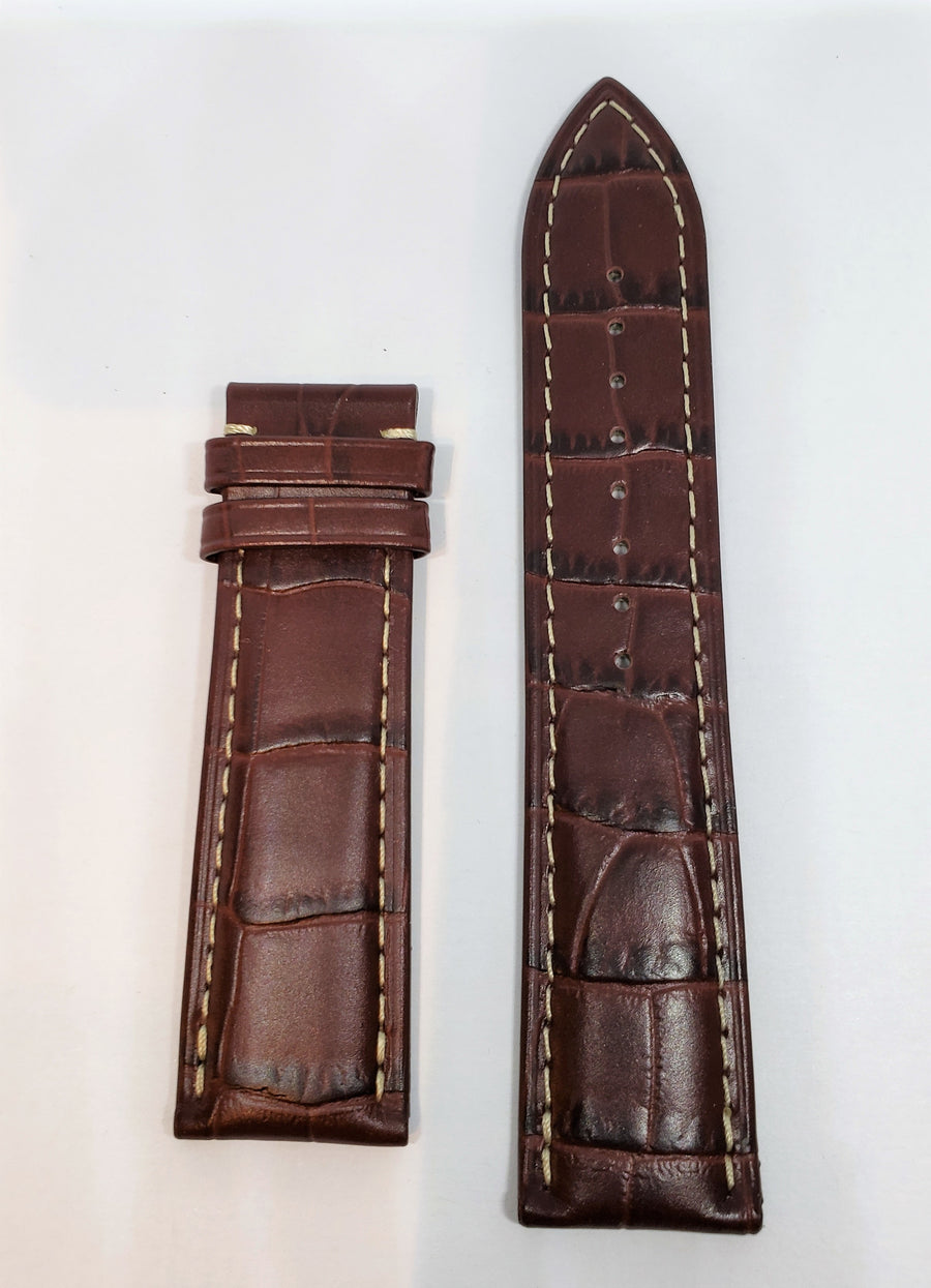 Mido Baroncelli 20mm 8600 Brown Leather Watch Band Strap