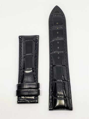 Mido Commander 22mm Black Leather Watch Band - WATCHBAND EXPERT