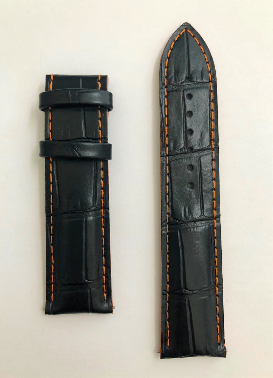 MIDO Multifort M005614A 23mm Black Leather Watch Band - WATCHBAND EXPERT