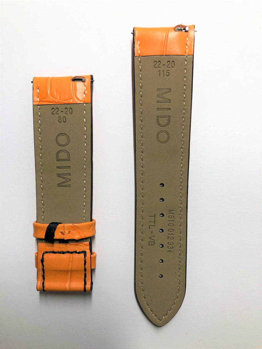 MIDO Multifort 22mm M005430A Orange Leather Watch Band
