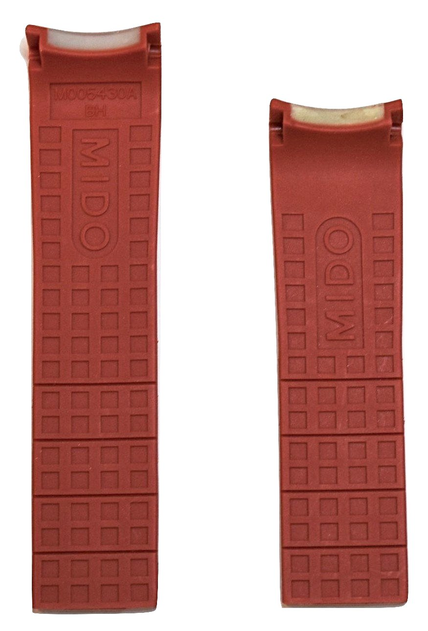 MIDO Multifort 22mm Red Rubber Band Strap for Model: M018430A - WATCHBAND EXPERT