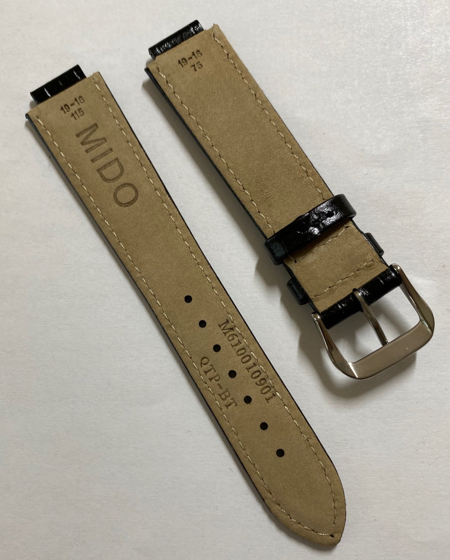 MIDO Dorada M1130A Black Leather Watch Band Strap - WATCHBAND EXPERT