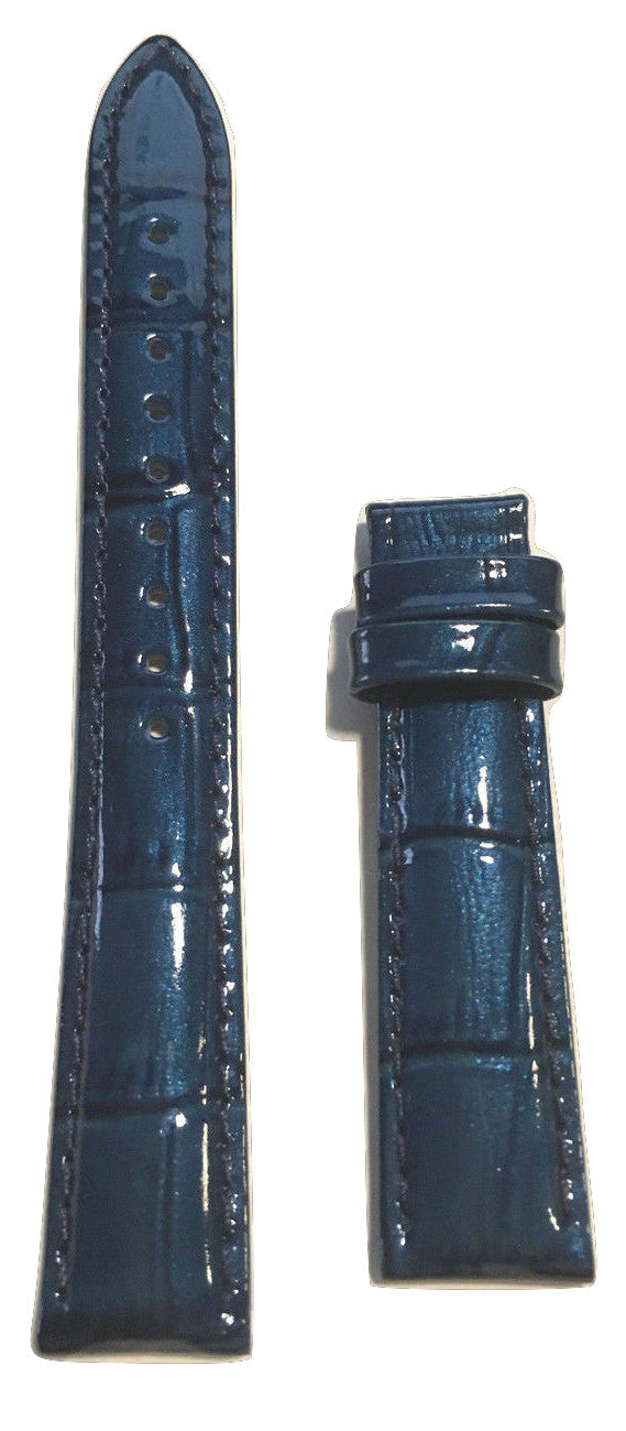 Tissot PRC 200 Womens Blue Patent Leather 16mm Strap Band for T055217A - WATCHBAND EXPERT