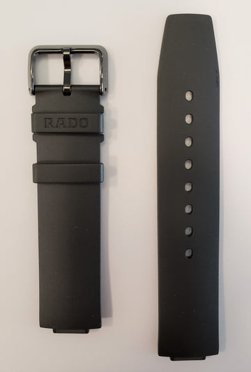 RADO True Thinline Black Rubber Strap Watch Band For R27741159 - WATCHBAND EXPERT