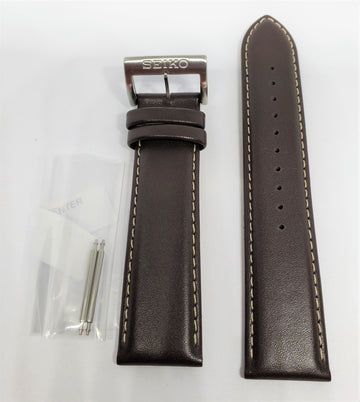 Seiko 22mm SNN241 Brown Leather Watch Band - WATCHBAND EXPERT