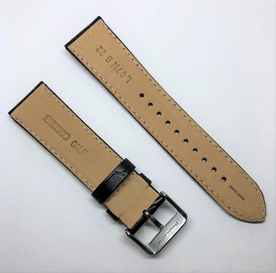 Seiko 22mm SRP715 Black Leather Strap Band