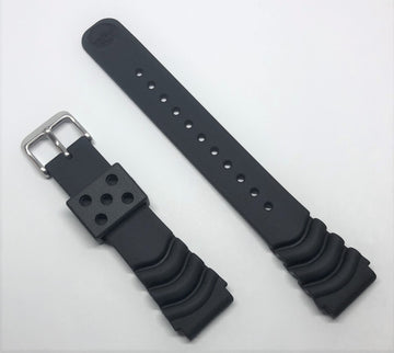 Seiko Diver 20mm SSC031 Black Rubber Strap Band - WATCHBAND EXPERT