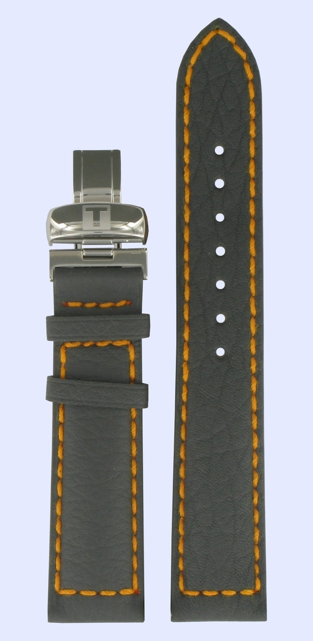 Tissot T-Navigator 3000 20mm Grey / Orange Band Strap with Clasp - WATCHBAND EXPERT