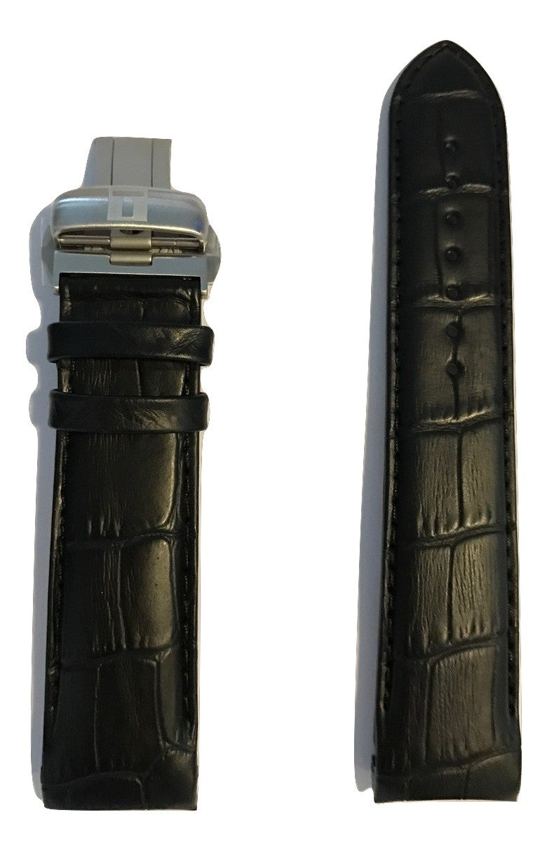 Tissot Couturier Black Leather 22mm Band Strap w/ Buckle for T035410A - WATCHBAND EXPERT